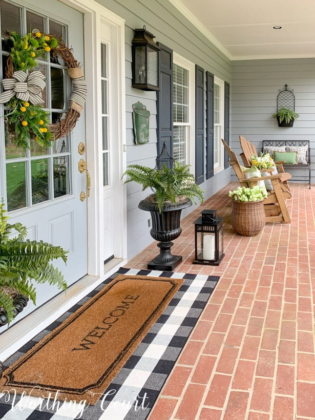 front porch decorated for spring