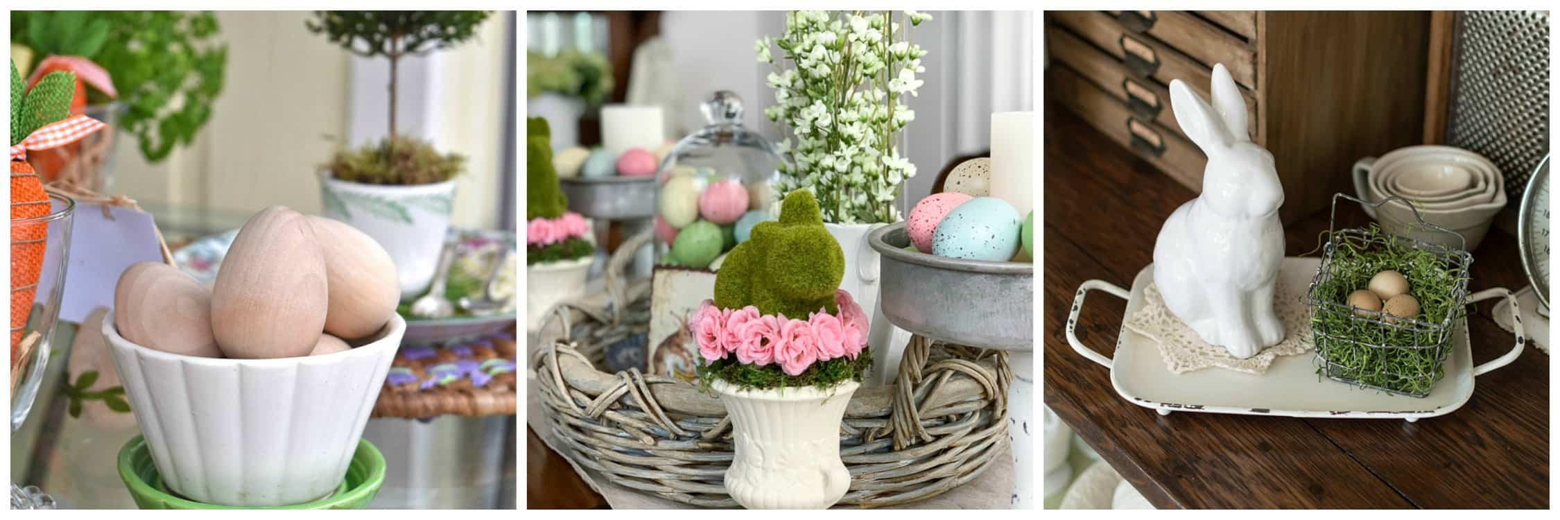 collage of spring decor images