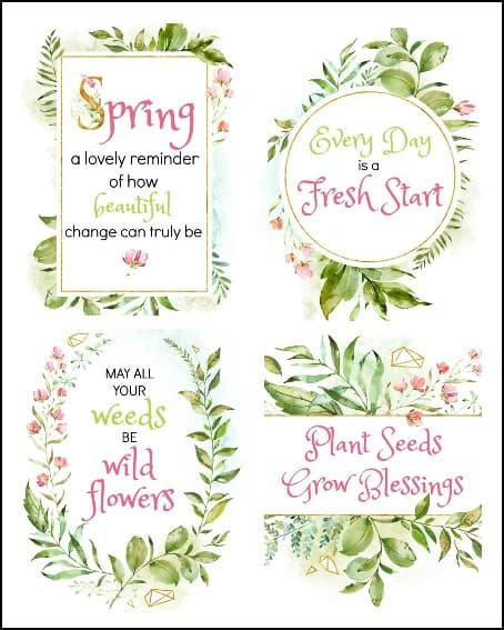 set of 4 spring printables
