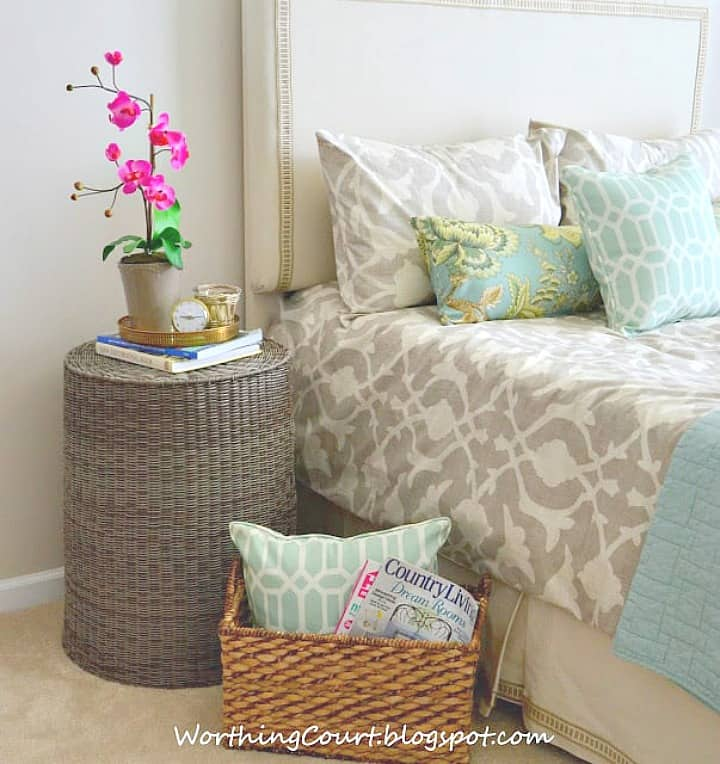 basket used as a bedroom nightstand