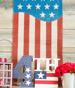 patriotic vignette with USA flag in the background