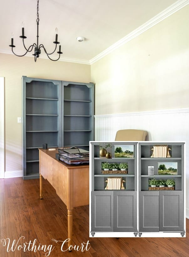 gray bookcases with inset picture of what makeover will look like