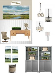 Design board for home office redesign showing updated traditional style furnishings and accessories