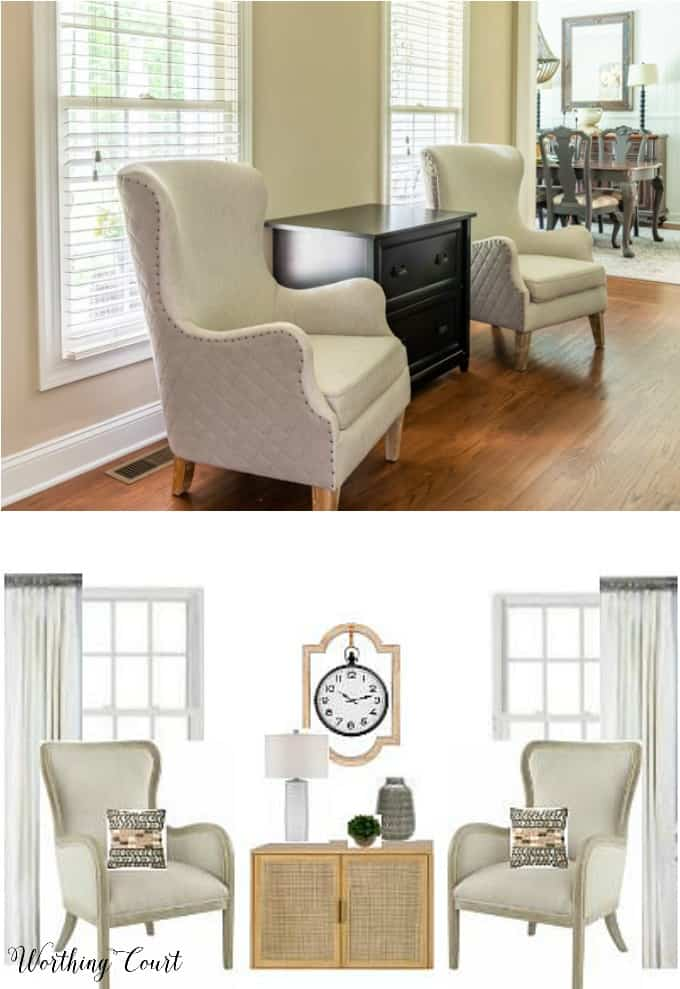 wing chairs in front of windows and image with office redesign plans for the same area