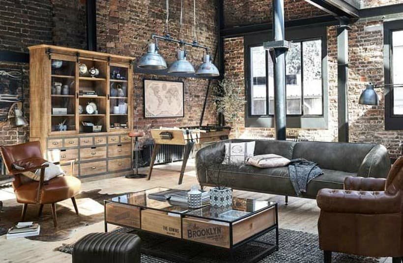 industrial style living room with brick wall