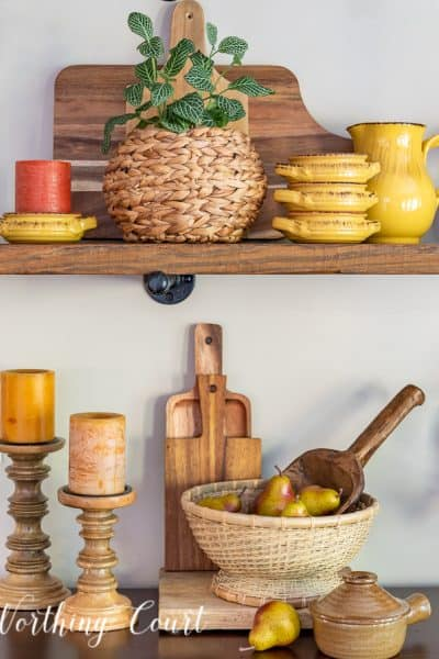 Floating shelves with variety of fall decor