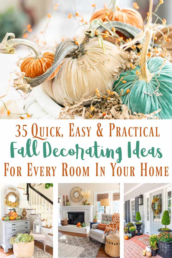 Pinterest image for blog post about 35 fall decorating ideas