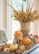 fall centerpiece in a metal tray