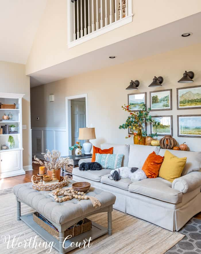 family room with neutral furniture decorated for fall