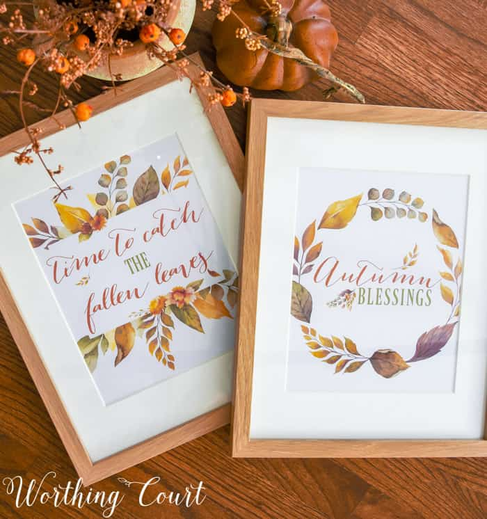 set of 2 fall printables displayed in frames