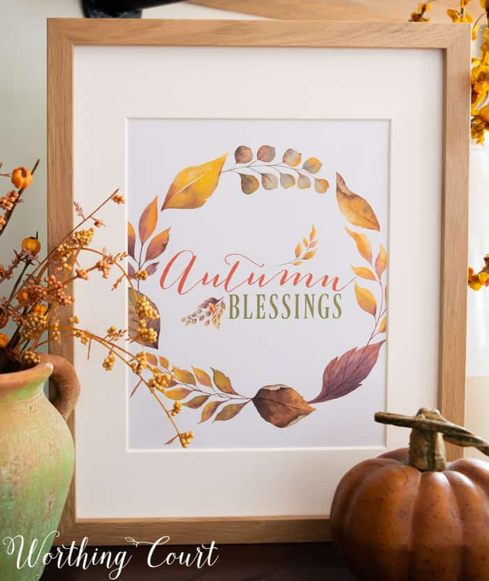 free printable with fall saying and colors displayed in a frame