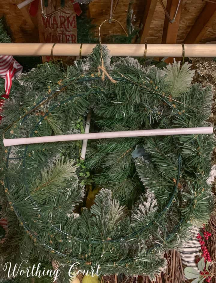 wreath stored on coat hanger