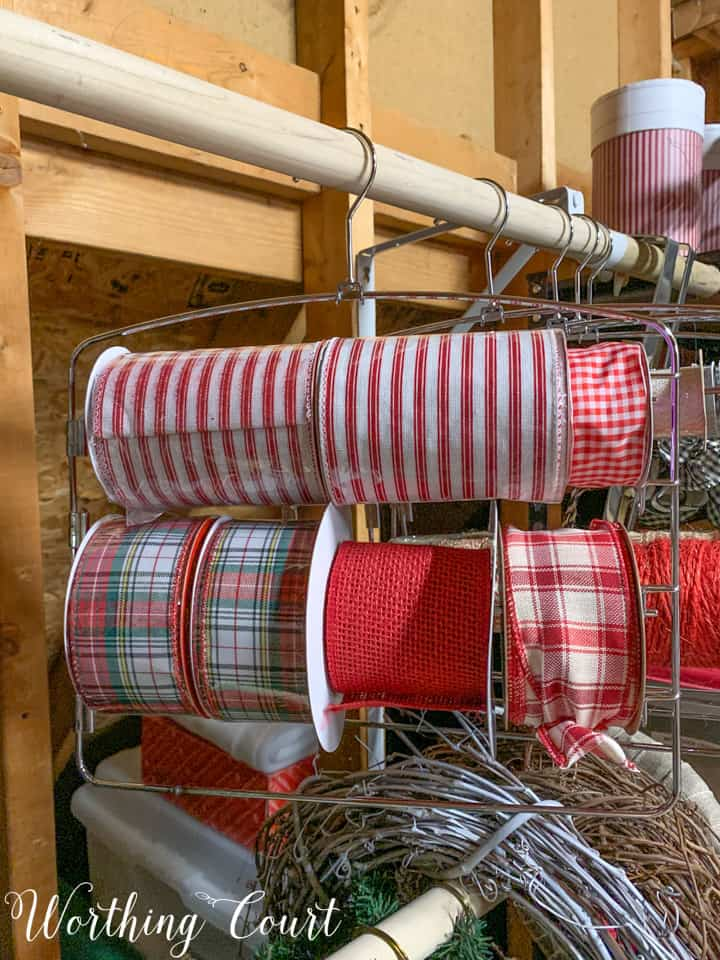 ribbon rolls stored on pants hanger