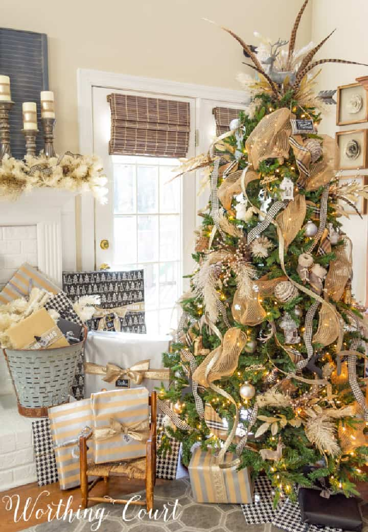 Christmas tree decorated with all neutral ornaments