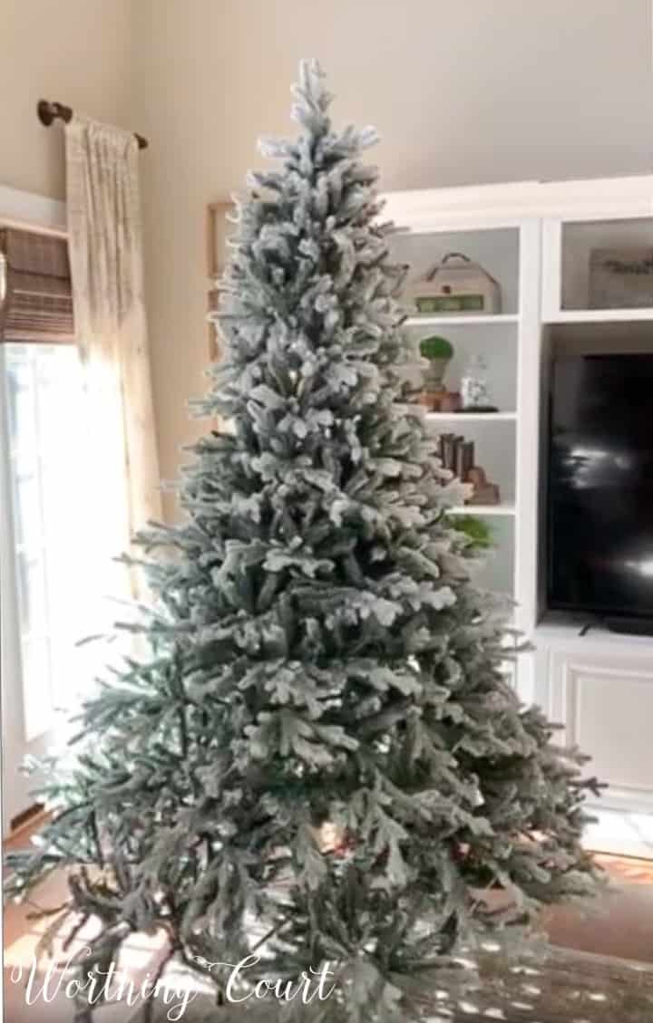 flocked artificial Christmas tree