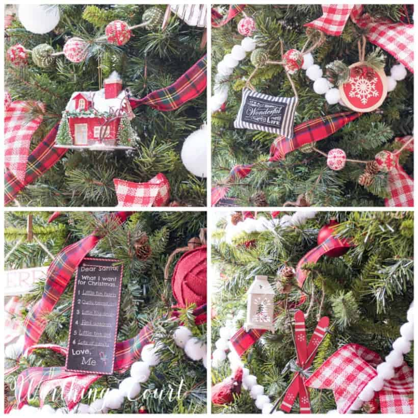 red, green and white ornaments on a Christmas tree