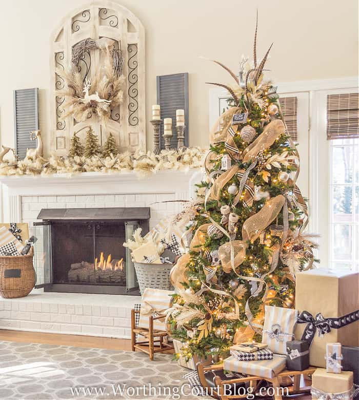 Christmas tree and mantel with neutral Christmas decorations