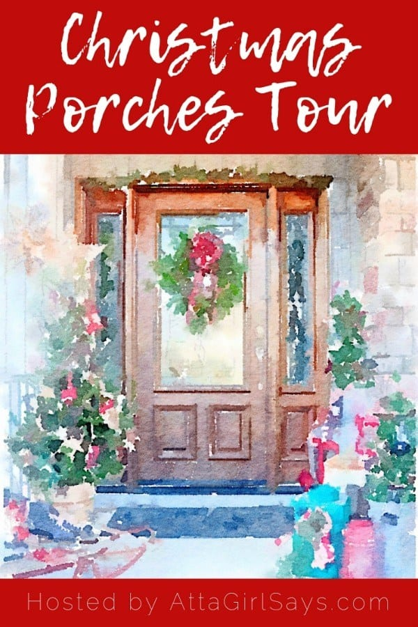 graphic for a Christmas porch bloghop