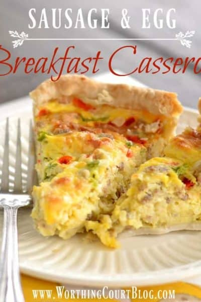 graphic with image of sausage and egg casserole on a white plate