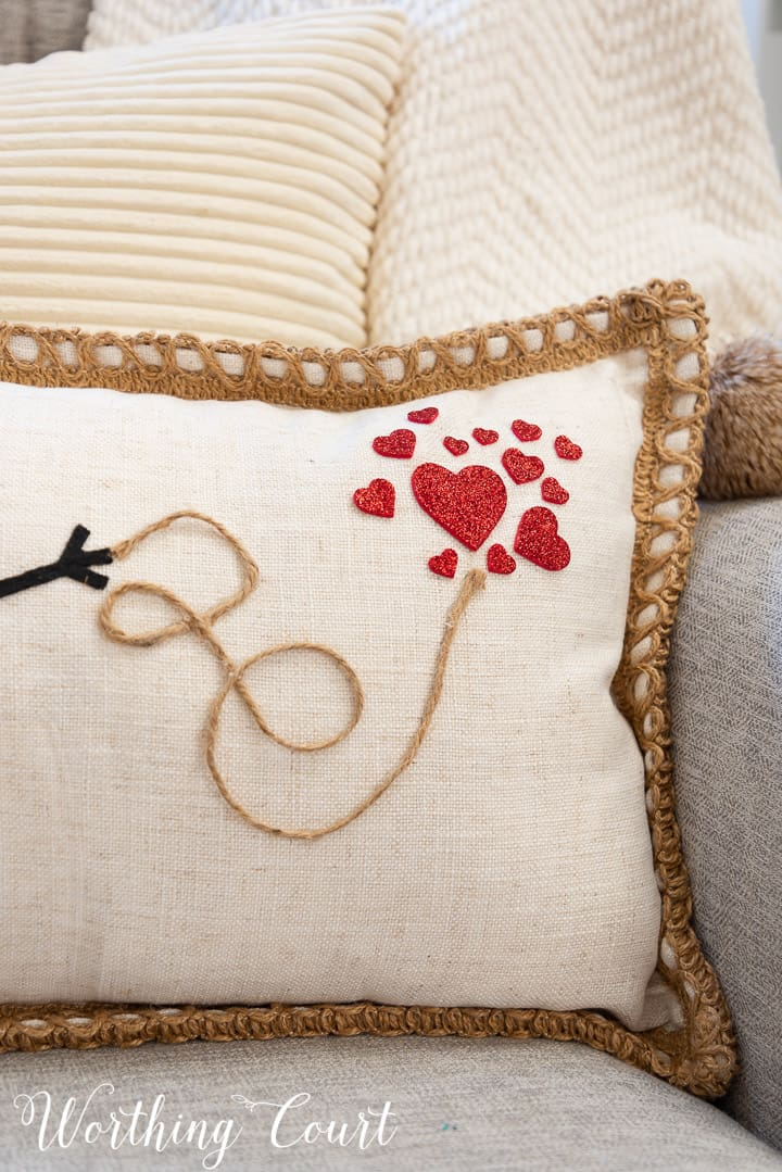 side of pillow with heart stickers