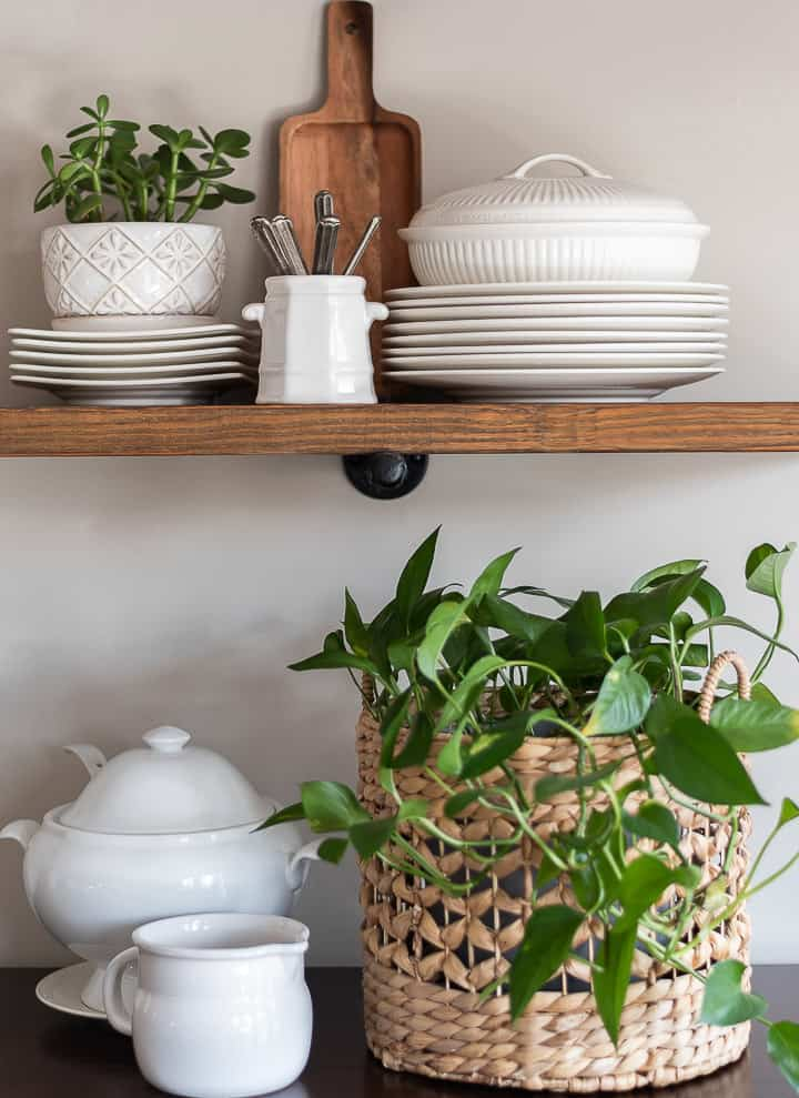 white dishes and live plants on open wooden shelves
