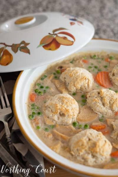 chicken pot pie in a pie dish