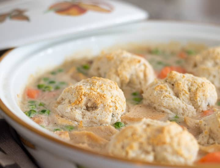 image of chicken pot pie with biscuits on top
