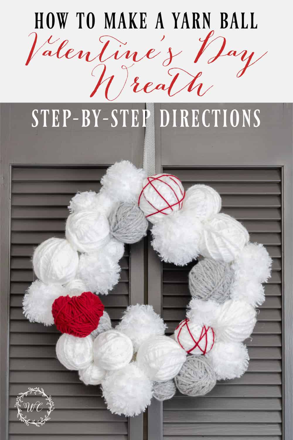 Pinterest graphic for blog post about making a Valentine's Day wreath