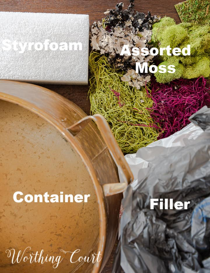 image showing the items needed for making a basic moss bowl