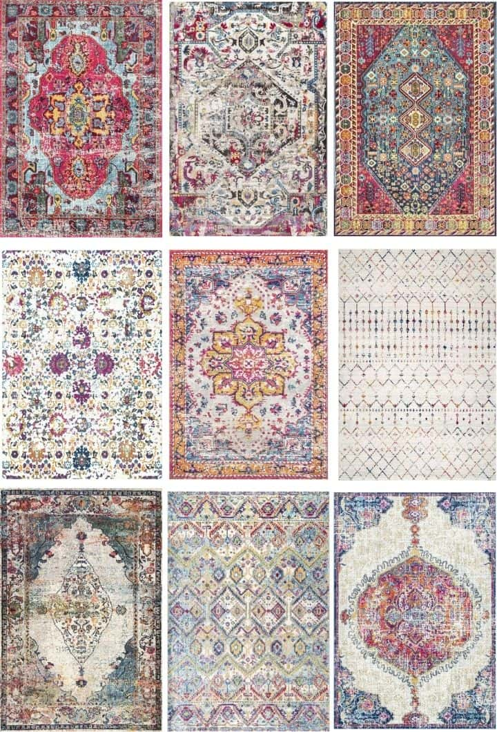 graphic showing multiple patterns of rugs that coordinate