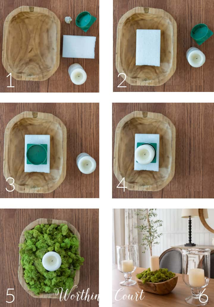 6 photos of step by step process of creating a moss bowl with a white candle