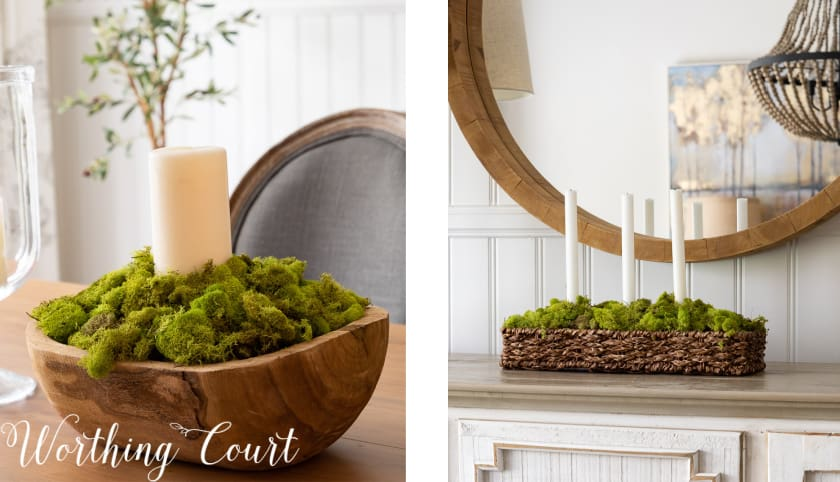 2 photos of moss bowls with white candles