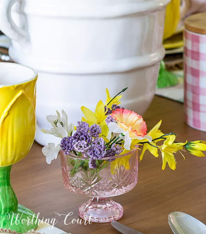 pink dessert bowl filled with faux flowers