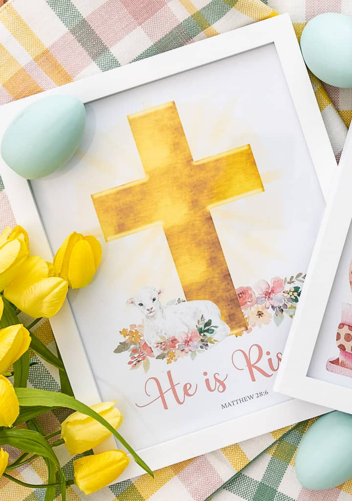 He Is Risen printable in a white frame