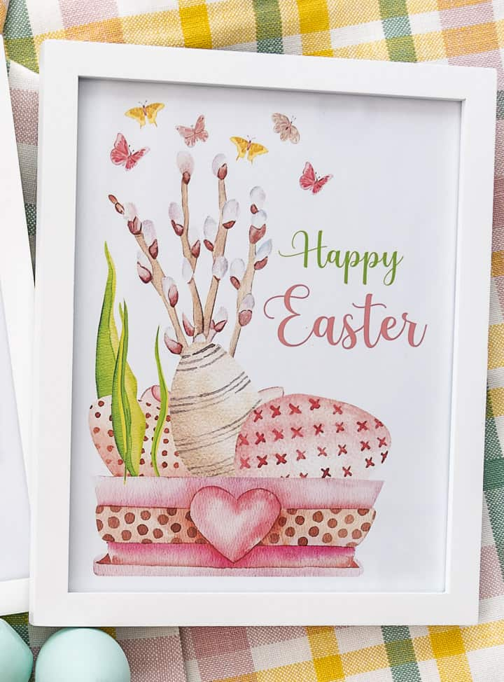 Happy Easter printable in a white frame