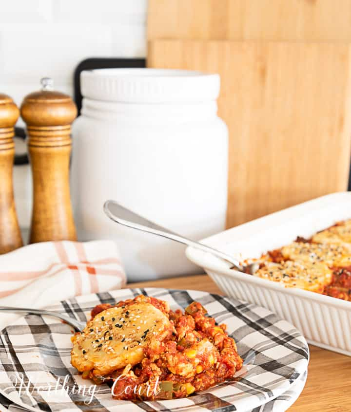 image of sloppy joe casserole topped with biscuits