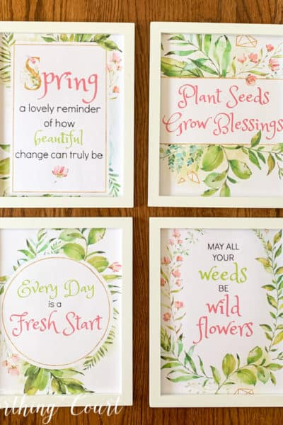 image of 4 spring printables in white frames