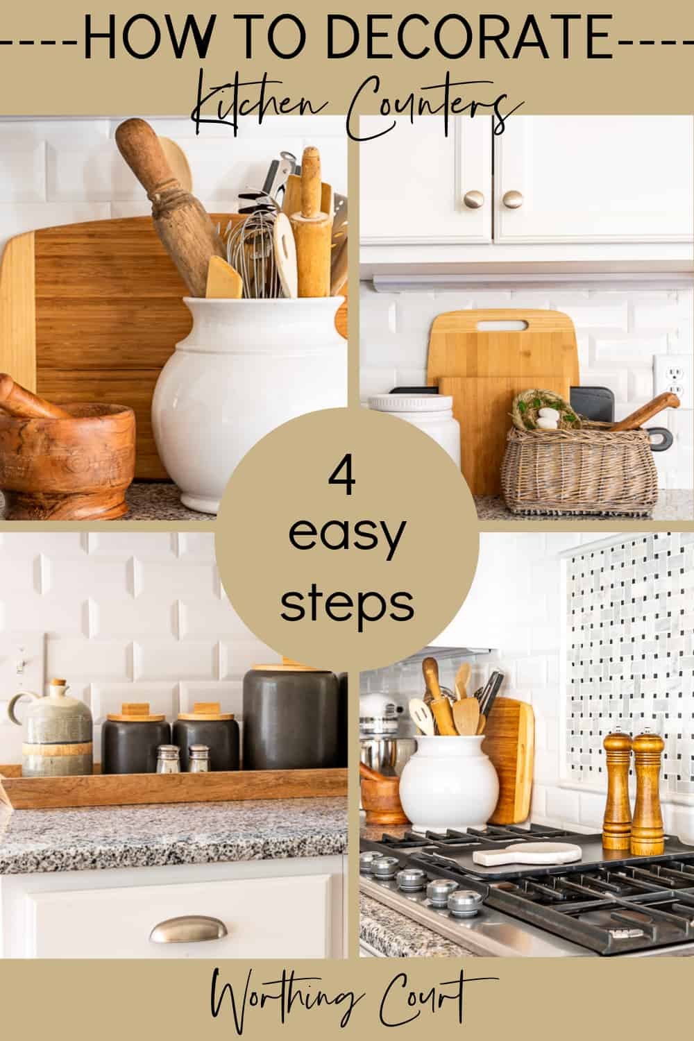 pinterest image for blog post about how to decorate kitchen countertops