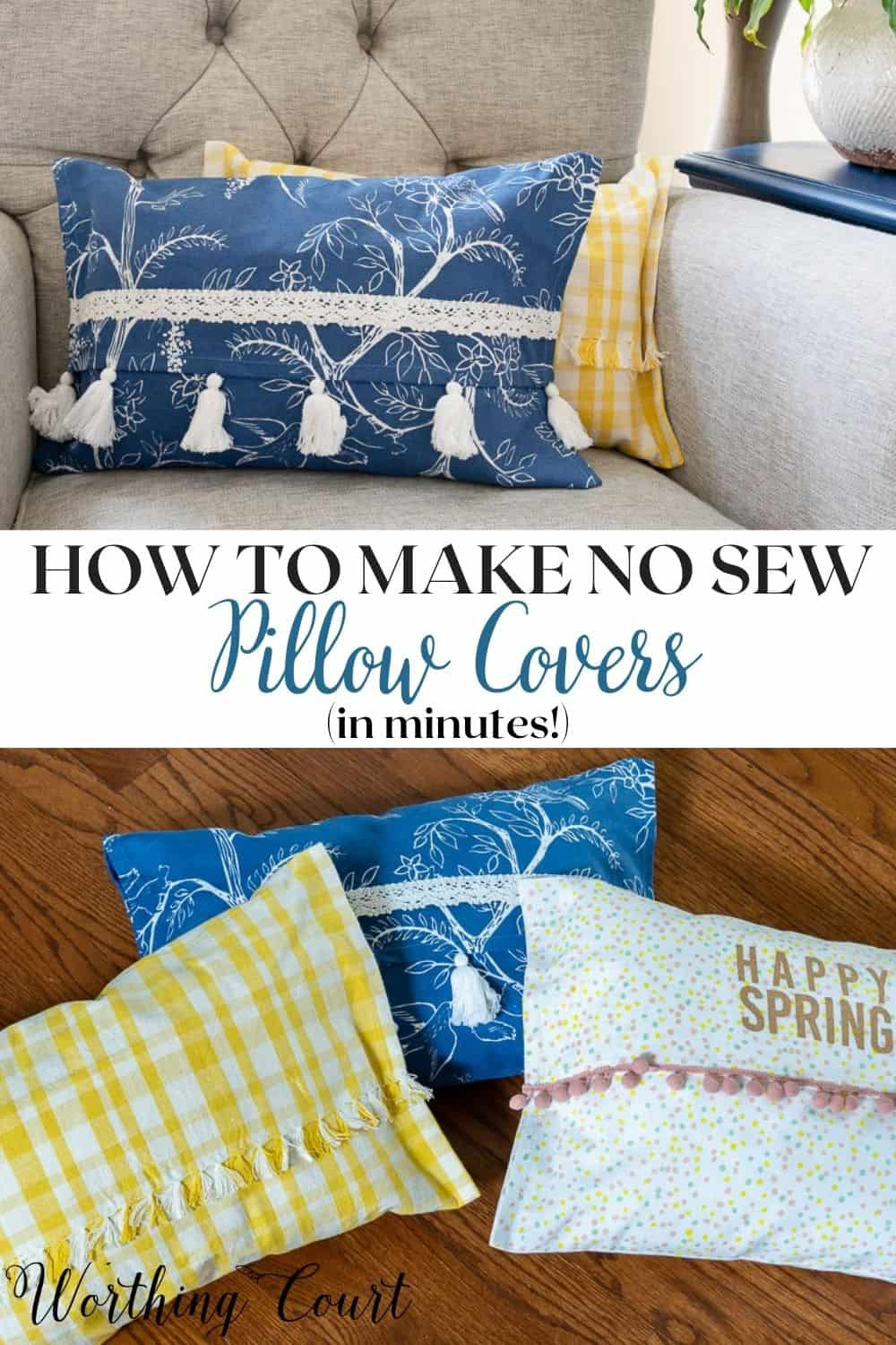 pinterest graphic for how to make no sew pillow covers blog post