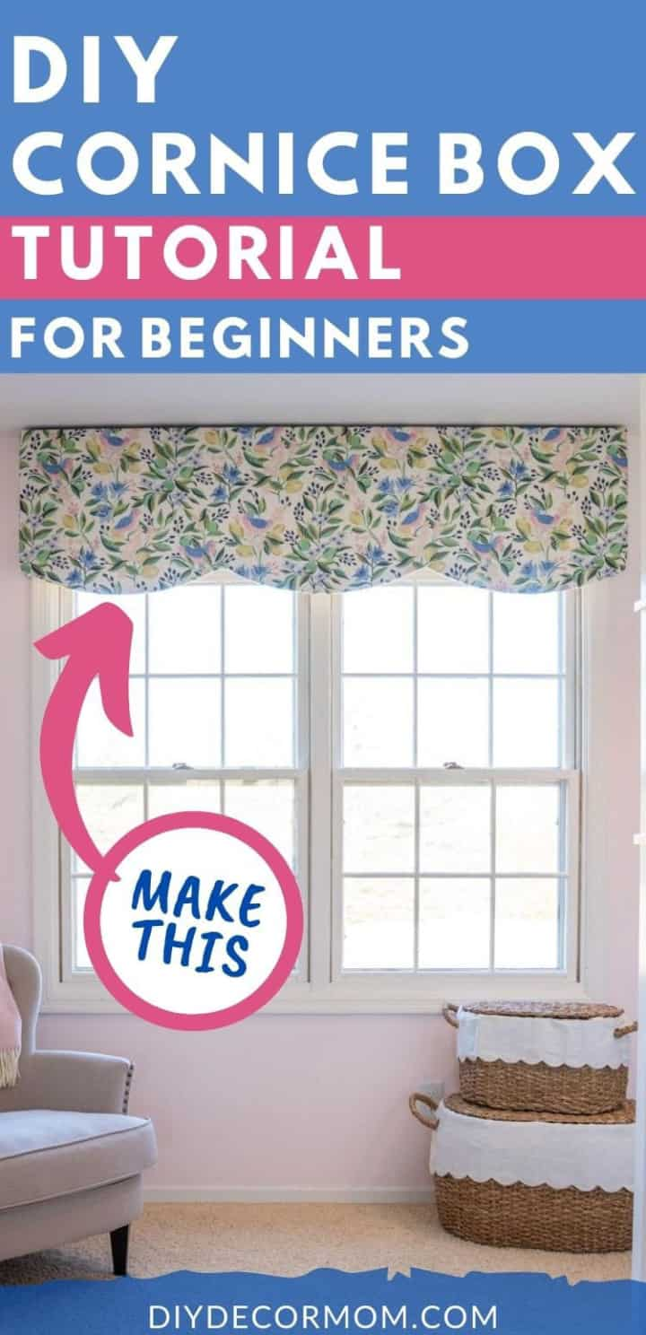 Pinterest image for making scalloped window valance