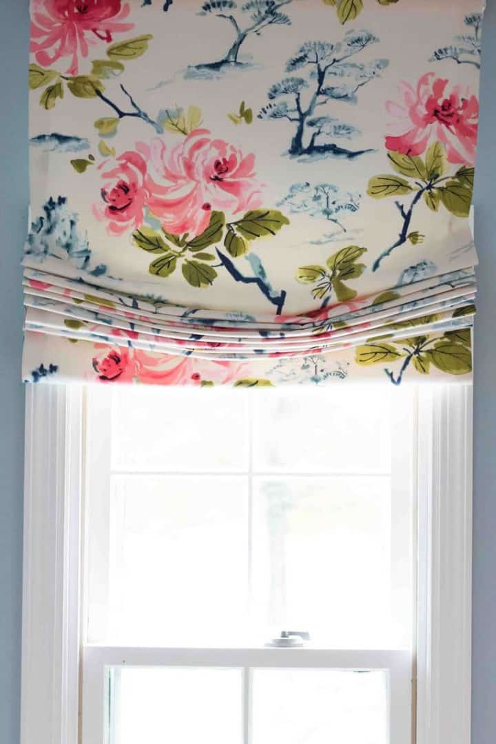 relaxed roman shade with floral fabric