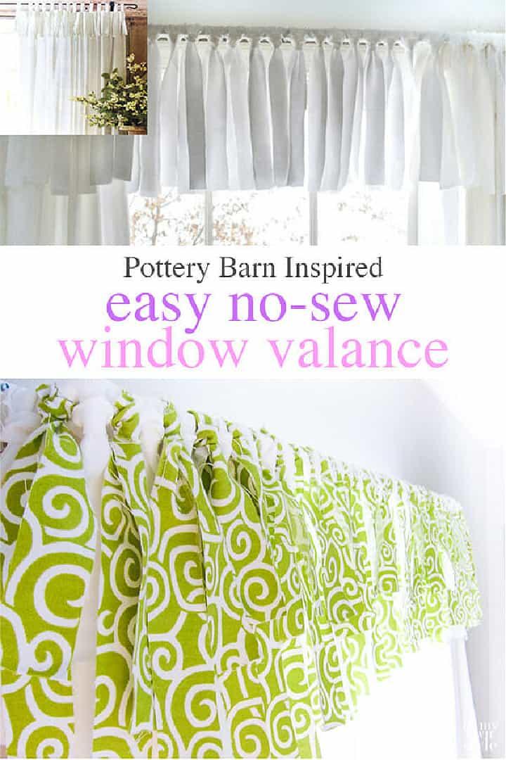 Pinterest image for no sew window valance