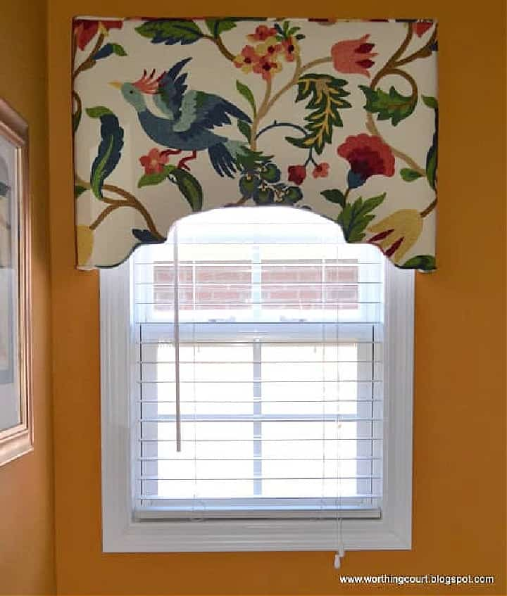 upholstered cornice with floral fabric