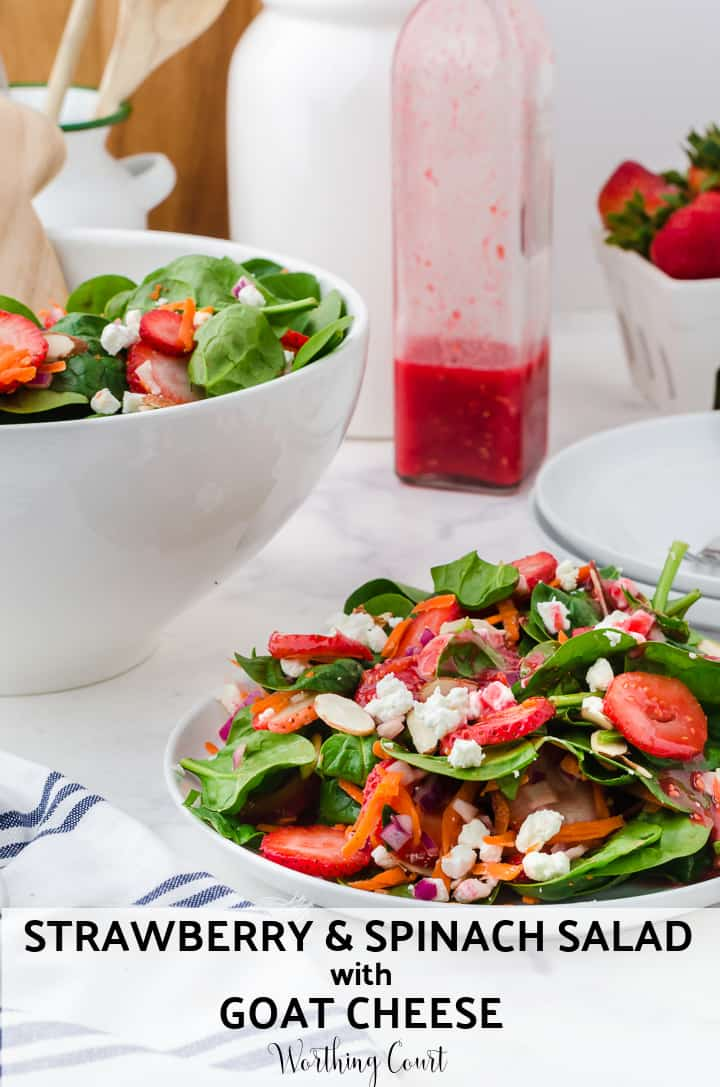 Pinterest image for strawberry spinach salad recipe