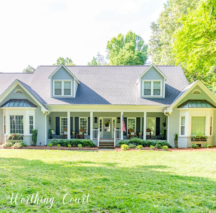 gray house with wide front porch