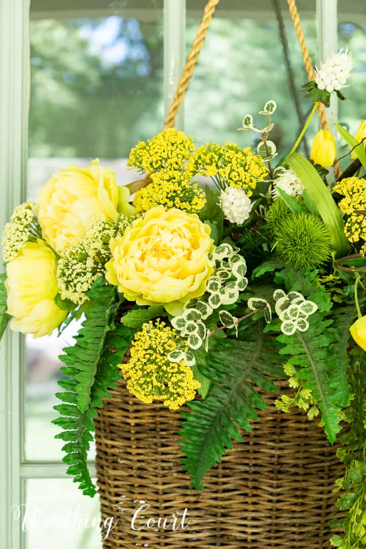 yellow green and black front porch spring and summer decor
