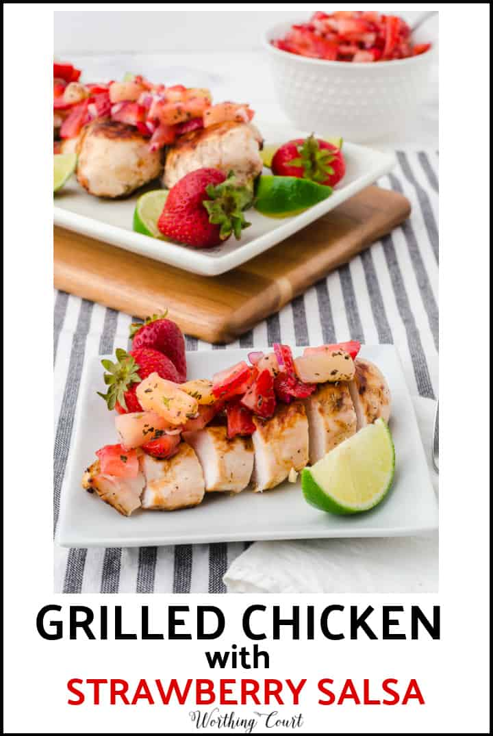pin image for grilled chicken with strawberry salsa