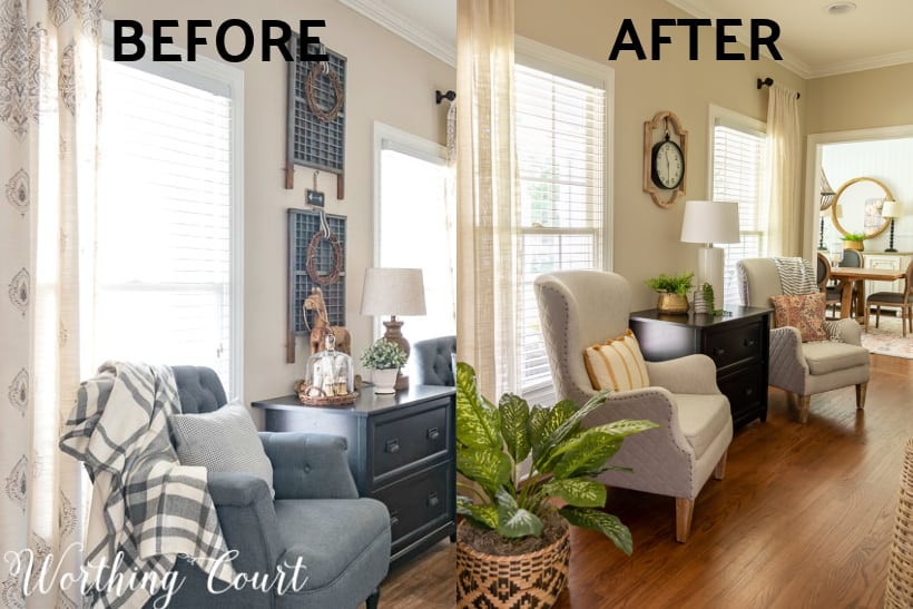 before and after photos of home office makeover