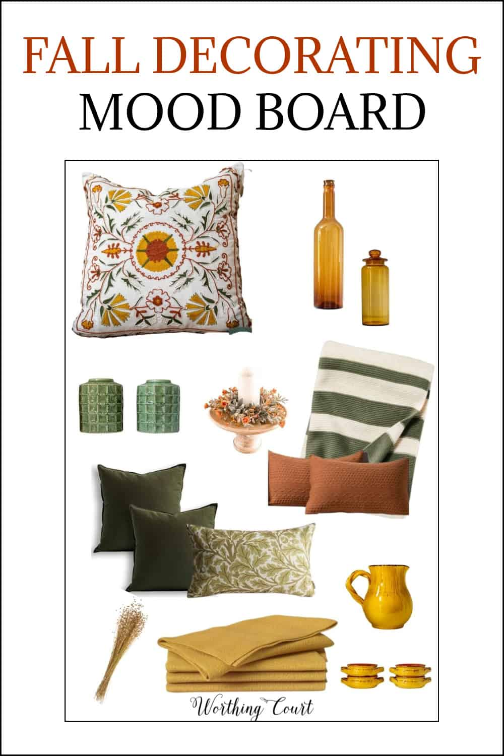Pinterest image of mood board with fall decor