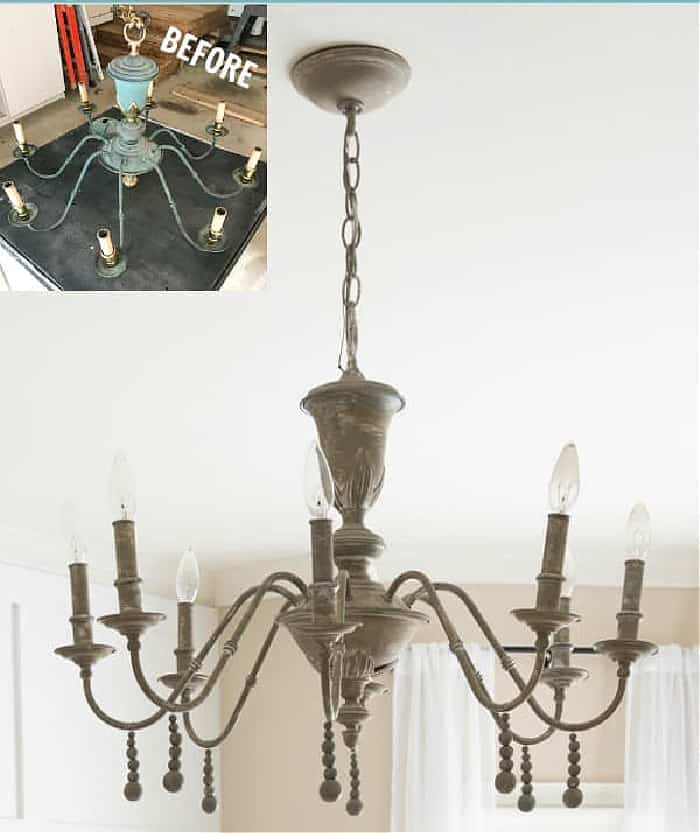 image of before and after of chandelier makeover